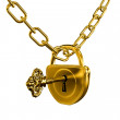 Gold lock with key and chain isolated - Stock Photo