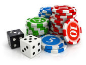 Chips and dice game from casino — Stock Photo