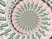 Money dollars packs moving by spiral — Stock Photo