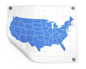 Paper sheet with usa map — Stock Photo