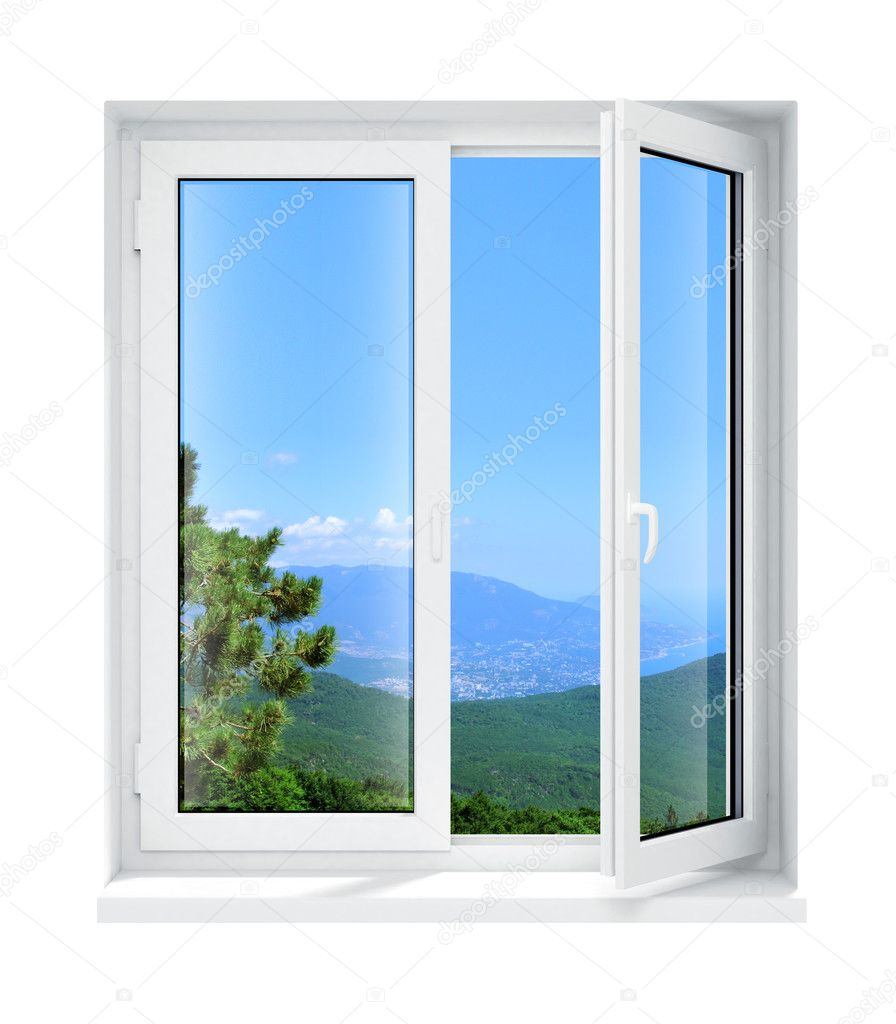 New opened plastic glass window frame isolated on the white background 3d model illustration  Stock Photo #1013336