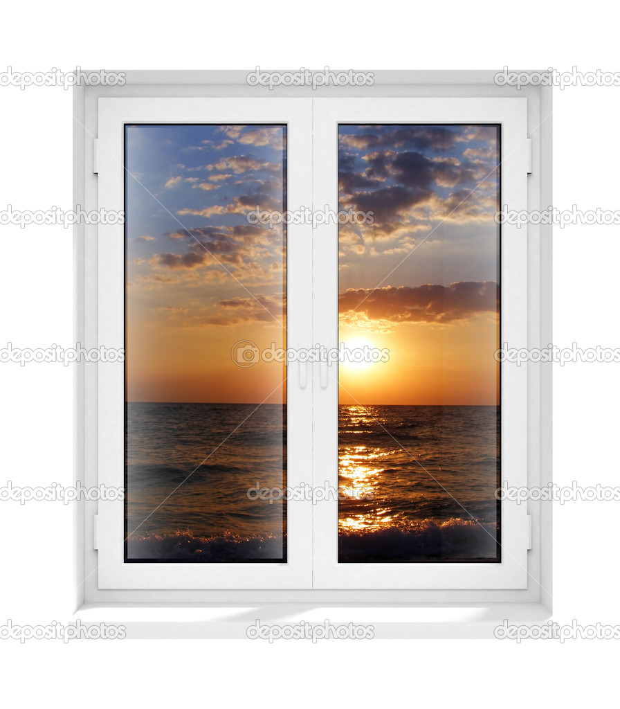 New closed plastic glass window frame evening isolated on the white background 3d model illustration — Stock Photo #1013453