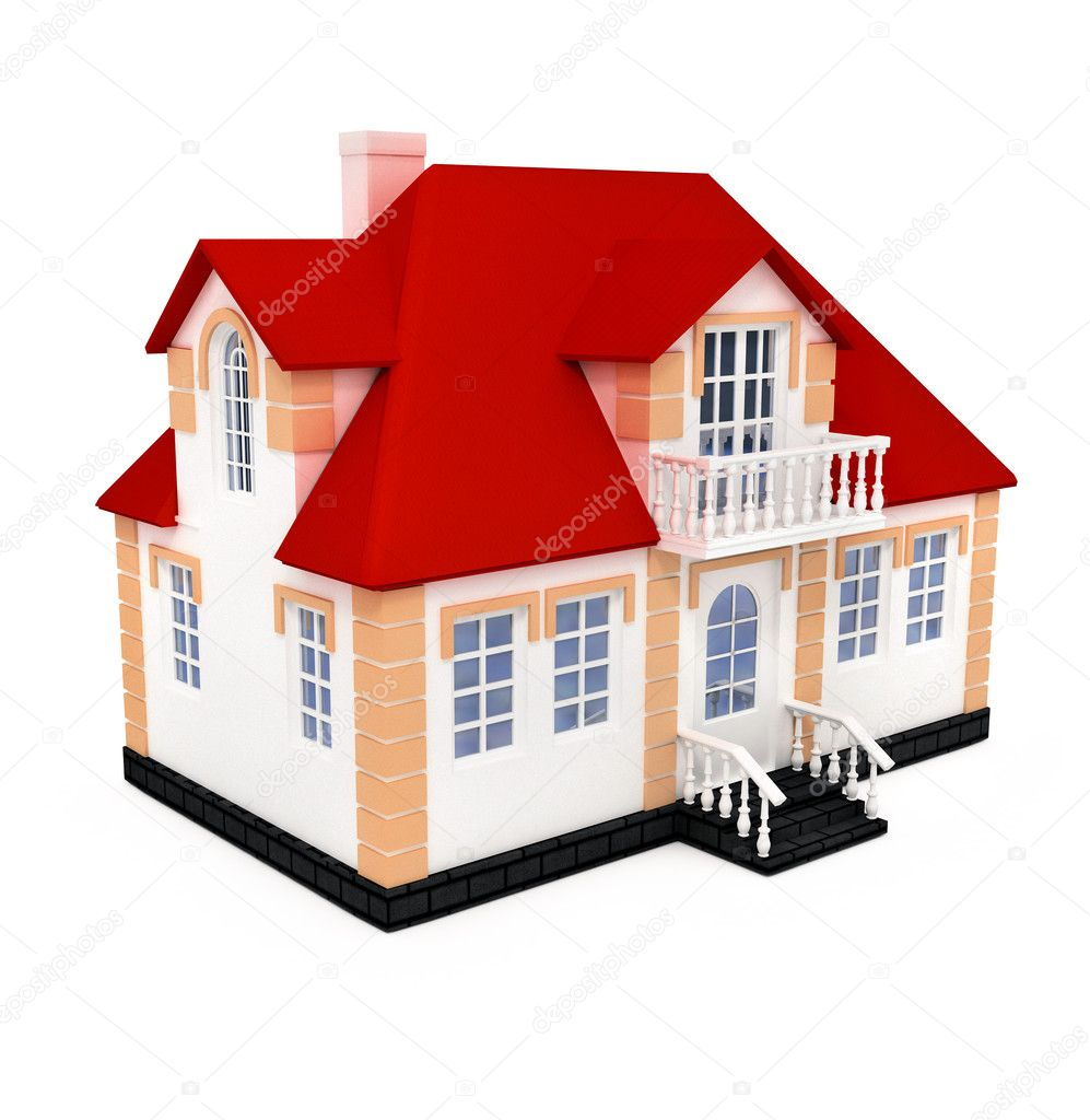 New private house 3d illustration isolated on white background  Stock Photo #1013601