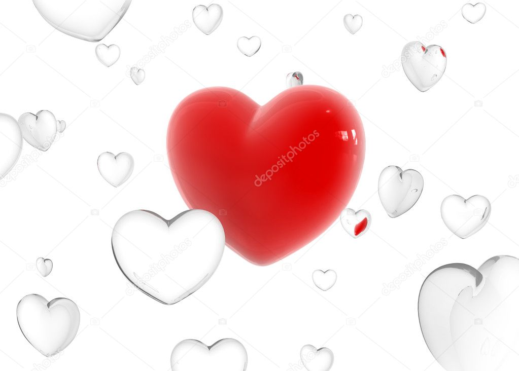 Big red heart between glass flying hearts 3d model  Stock Photo #1013925