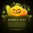 Halloween pumpkin vegetables with green — Stock Vector