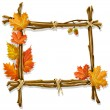 Vector de stock : Decorative wooden frame made of branches