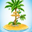 Tropical palm tree on the uninhabited is - Stock Vector
