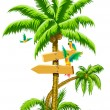 Tropical palm tree with wooden signs and - Stok Vektr
