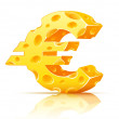 Royalty-Free Stock Vector Image: Euro currency sign made of yellow porous