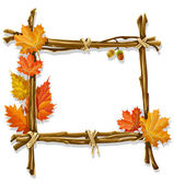 Decorative wooden frame made of branches — Vettoriale Stock