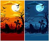 Terrible halloween cemetery with moon ni — Stock Vector