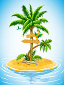 Tropical palm tree on the uninhabited is — Vetorial Stock