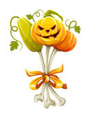 Funny bouquet made of halloween pumpkins — Stock Vector