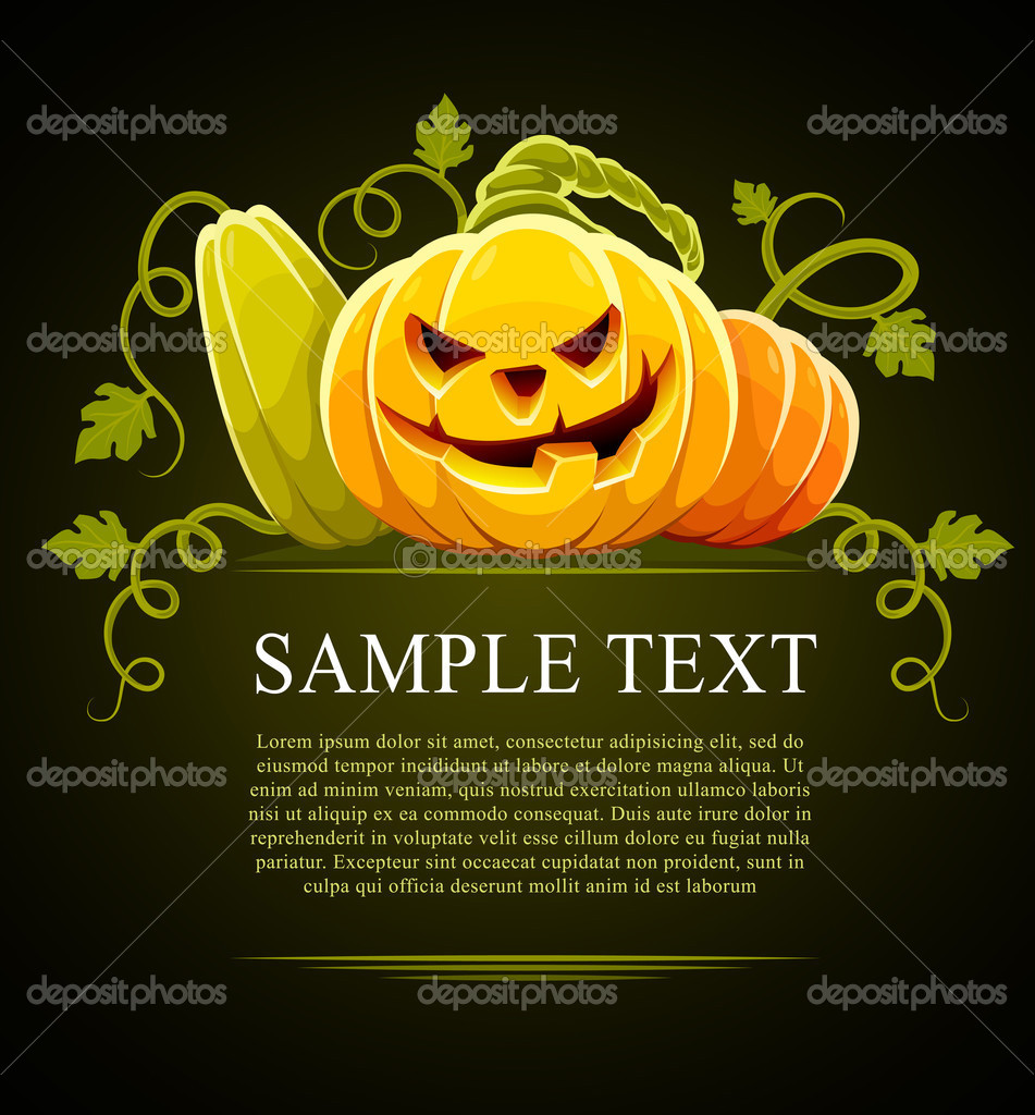 Halloween pumpkin vegetables with green leaves on black - vector illustration — Stok Vektör #1012775