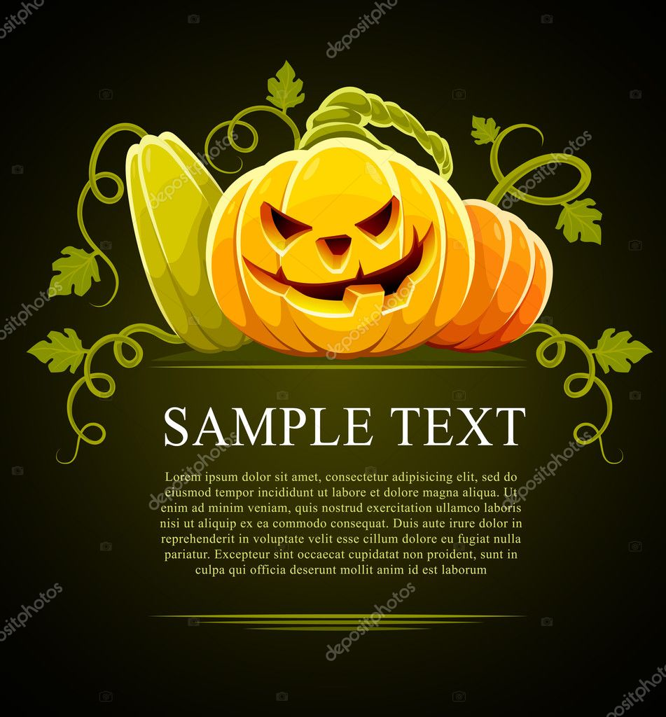 Halloween pumpkin vegetables with green leaves on black - vector illustration  Stock Vector #1012775