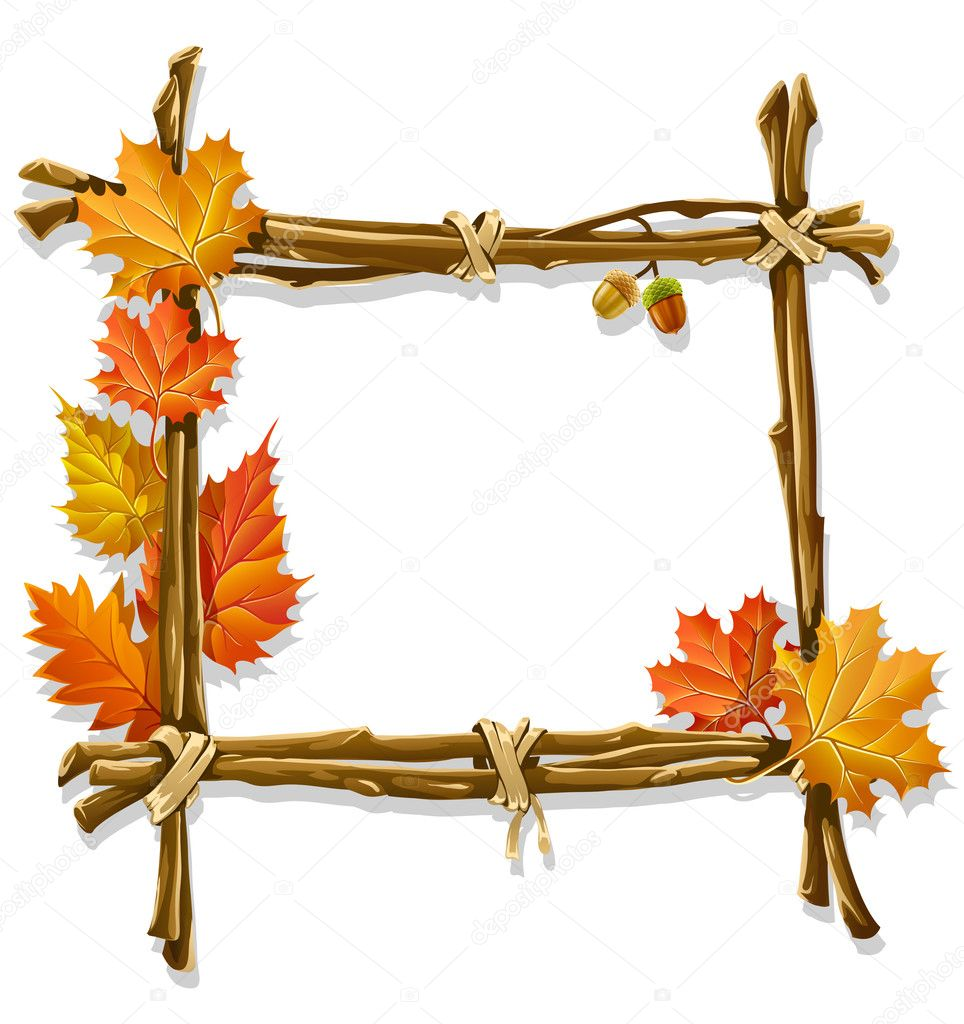 Decorative wooden frame made of branches with autumn leaves - vector illustration — Stock Vector #1012784