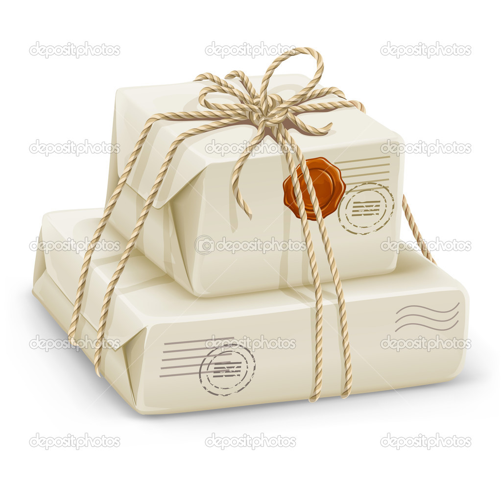 Parcel post with boxes wired by rope - vector illustration — Stock Vector #1012786