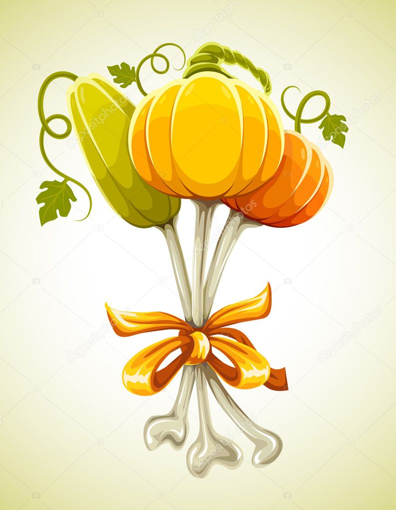 Funny bouquet made of halloween pumpkins on bones - vector illustration — Stock Vector #1012848