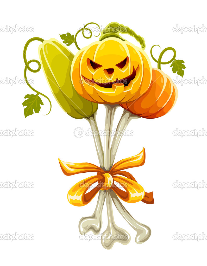 Funny bouquet made of halloween pumpkins on bones - vector illustration — Stock Vector #1012868