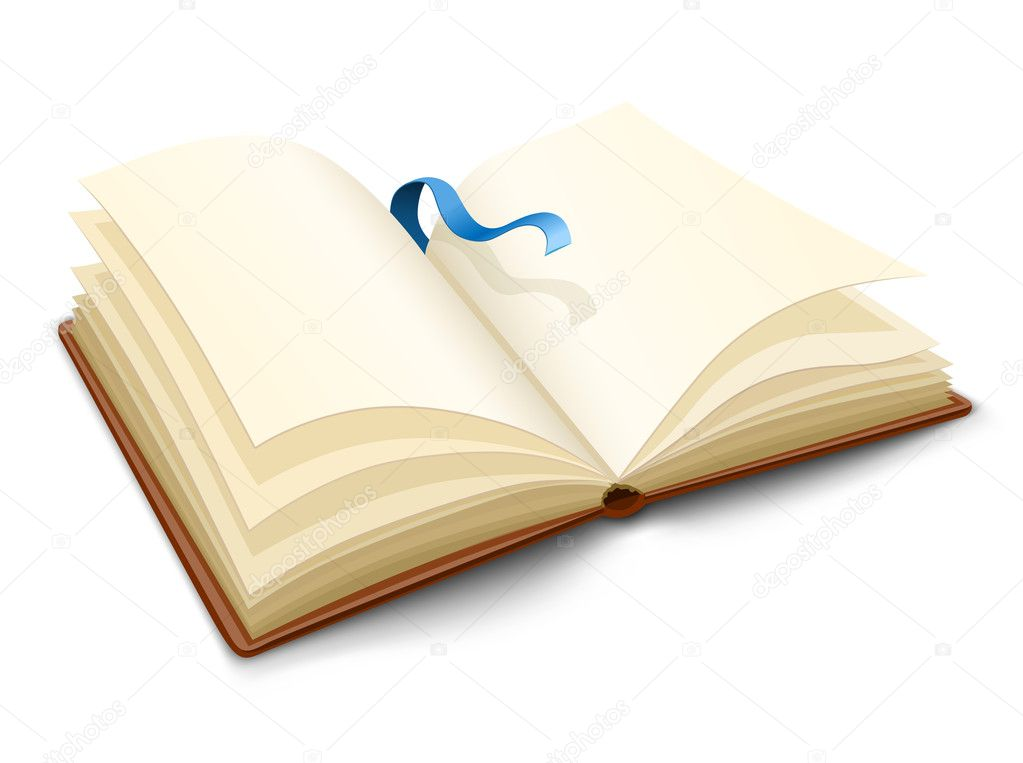 Opened book with blank pages vector illustration — ベクター素材ストック #1015221
