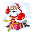 Royalty-Free Stock Vector Image: Cheerful Santa Claus opening a Christmas