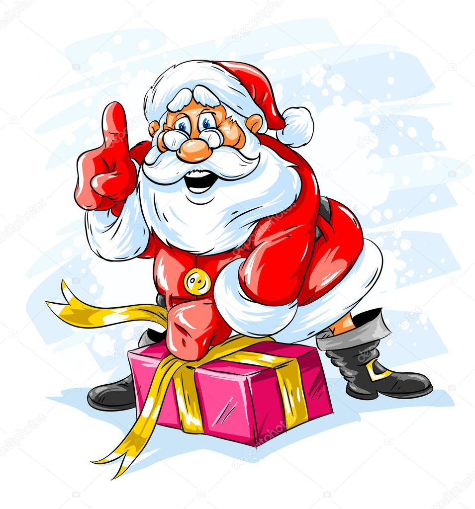 Cheerful Santa Claus opening a Christmas gift box - vector illustration  Stock Vector #1081449