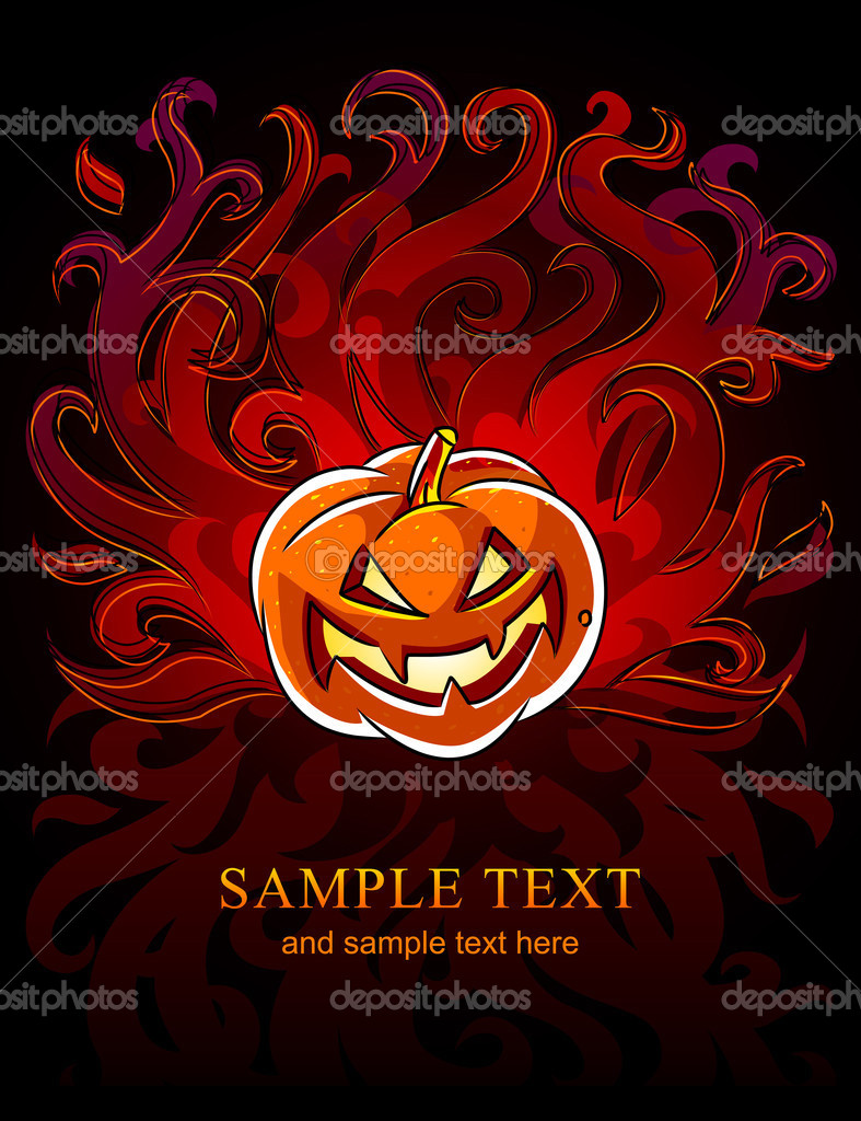 Burning halloween pumpkin in the fire - vector illustration — Stock Vector #1089724