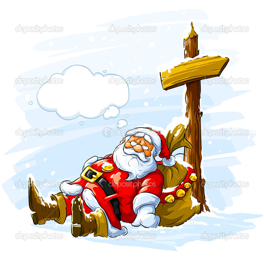 Santa claus sleeping near the post with arrow sign and big sack of Christmas gifts - vector illustration — Stock Vector #1103698