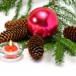 Royalty-Free Stock Photo: Christmas tree and candle