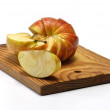 Section apple on plate — Stock Photo