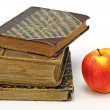 Stock Photo: Old religious books and apple