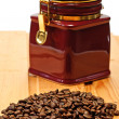Beans coffee and box on table — Stock Photo #1013091
