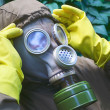 Soldier dress gas mask — Stock Photo