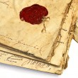 Stock Photo: Manuscript with wax stamp