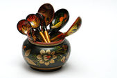 Wooden tableware, — Stock Photo