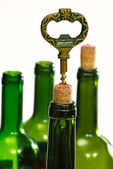 Wine bottles and corkscrew — Stock Photo
