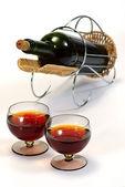 Wine bottle in basket — Stock Photo