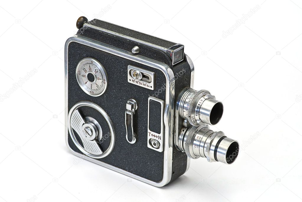 Old cinecamera on white isolated — Stock Photo #1011422