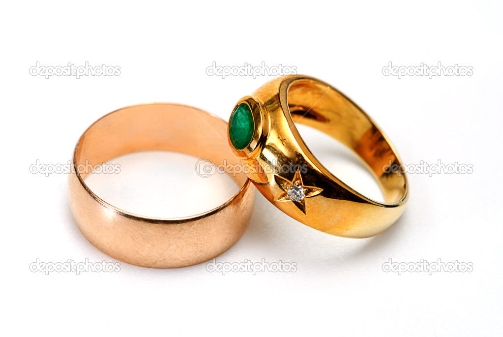 Two golden ring on white isolated — Stock Photo #1011436