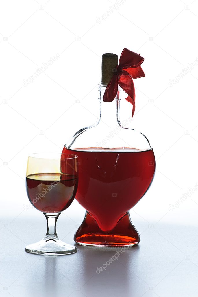 Valentine day wineglass on white — Stock Photo #1013072