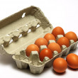 Stock Photo: Hen eggs in box