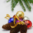 Royalty-Free Stock Photo: Christrmas tree, cone and balls