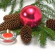 Royalty-Free Stock Photo: Christrmas tree, cone,,candle and balls