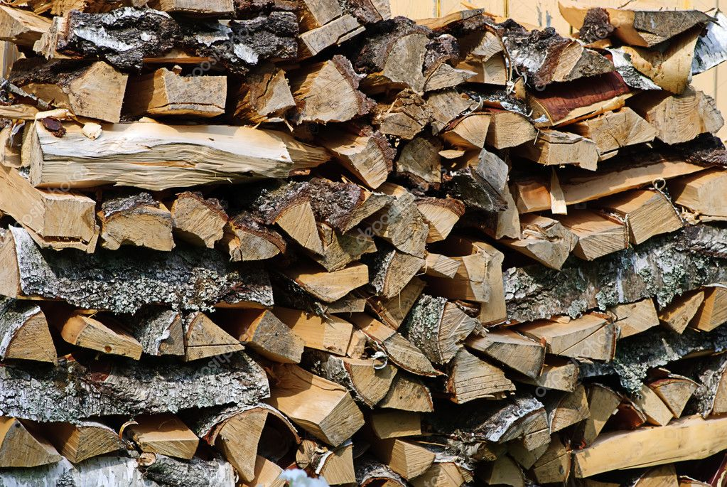 Stack of firewood birch in farm closeup — Stock Photo #1032296