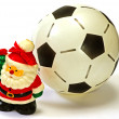 Santa Claus and the soccer ball — Stock Photo