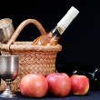 Apples,wine glass and bottle — Stock Photo