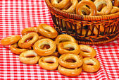 Basket with bread ring — Stock Photo