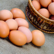 Eggs of brown color in wooden basket — Stock Photo