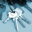 Bunch of keys isolated over blue - Foto de Stock