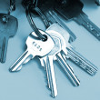 Bunch of keys isolated over blue - Stockfoto
